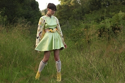 Jennifer Hankin - Lady Petrova Lime Faux Leather Dress, Dr. Martens Yellow Docs, Home Made Flower Belt - Rainbow Squirrels