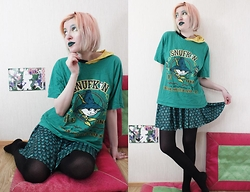 Lindwormmm - Snufkin Hooded T Shirt, Black Milk Clothing Dragon Scale Skater Skirt, Black Tights - Snufkin likes