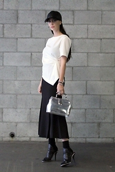 ASH - Leather Hat, Asymmetrical Top, Flared Skirt, Metallic Bag - Tomboy