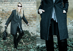 Eugenia Bulah - Marc By Jacobs Black Sunglasses, Mango Wool Coat, Givenchy Leather Shoulder Bag, H&M Trend Black Skater Skirt, Moschino Grey Wool Cardigan, Zara Over The Knee Suede Boots - Happy to be in my over-the-knee
