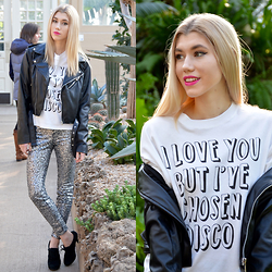 Dani Mikaela McGowan - Bundy & Webster Graphic Tee Shirt, Who What Wear Black Leather Jacket, H&M Sequined Pants - I Love You But...