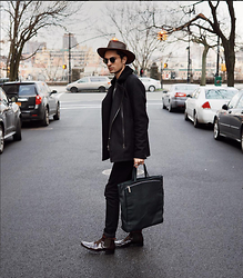 Phil Valles - Allsaints Black Coat, Goorin Brothers Hat, Maison Martin Margiela Bag, Alexander Mcqueen Boots - Highway to Never