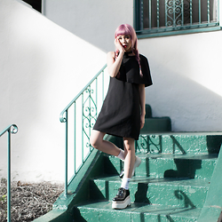 Essy Noir - Lamoda101 Josef Asymmetric Dress, Jeffrey Campbell Shoes Wooden Platforms - Doll House