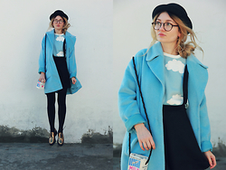 ♡Anita Kurkach♡ - Sheinside Sweatshirt, Sheinside Skirt, Sheinside Hat, Sheinside Coat, Asos Shoes, Romwe Bag - BLUE SKY!