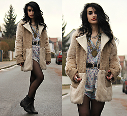 Tessa Diamondly - Marks & Spencer Patchwork Faux Fur Coat, Spell Designs Bohemian Royale Playsuit - Winter skies.