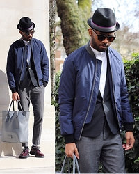 Martell Campbell - Paul Smith Trilby, Am Eyewear Sunglasses, Reiss Leather Collar Bomber Jacket, Coach Leather Tote Bag, Church's Derby Shoes, Jigsaw Grey Houndstooth Trousers - In the Park