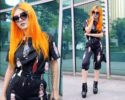 Lindsay Woods - Sheinside Black Short Sleeve Figure Print Top With Crop Pant, Choies Leather Boots - Cat Sunglasses
