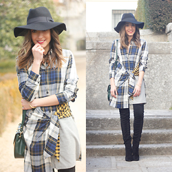 Besugarandspice FV - Zara Dress, Mango Boots - Tartan Shirt Dress
