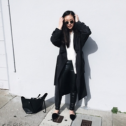 Tiffany Wang - Free People Shirt, Ray Ban Sunglasses, H&M Leather Leggings, Zara Flats, Céline Tote - TRENCH X LEATHER