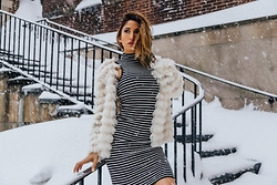 Misty Mason - Forever 21 Stripe Halter Dress, Audrey 3+1 Whispy Fur Blazer - #SnowedIn Manhattan