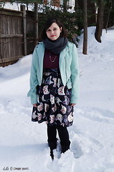 Gina S. - Urban Outfitters Mint Moto Jacket, Target Infinity Scarf, H&M Crop Top, Amazon Cat Skirt - Snowstorm aftermath.