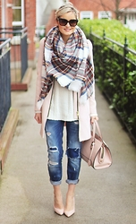 Martina Reynolds - Romwe Plaid Scarf, H&M Blush Coat - Making me Blush