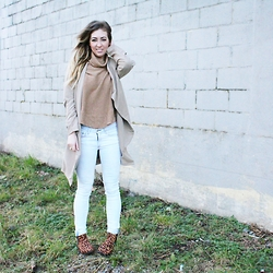 Christie Lohr - Gentle Fawn Tan Turtleneck, Rag & Bone Light Jeans, Barefoot Contessa Boutique Leopard Print Booties, 8th & Main Tan Cardigan - The Start of Each Day Is Like a Reset Button