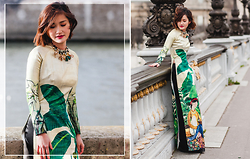 Miu PHAM - Zara Flowers Necklace, Thuy Design House Ao Dai Vietnamese Traditional Dress - Happy Lunar New Year