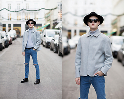 Patrick Pankalla - Topman Jacket, Topman Ripped Jeans, Dr. Martens Shoes, Matinique Leather Belt, Acne Studios Sunglasses, H&M Fedora Hat, Topman Rollneck - TOPMAN at NLYMAN
