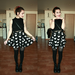 Solveig - H&M Top, H&M Skater Skirt, American Apparel Over The Knee Socks - VAL DAY LOOKBOOK VIDEO