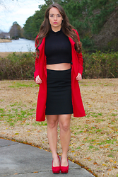 Amie - Red Hot Pumps, Black Turtleneck Crop Top, Express Black Pencil Skirt - Red Hot Pumps