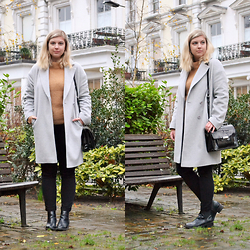 Elizabeth Claire - John Lewis Grey Coat, New Look Camel Jumper, Bdg Black High Rise Jeans, Candies Black Chelsea Boots, Clarks Black Patent Leather Purse - London Garden