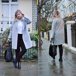 Elizabeth Claire - John Lewis Grey Coat, Forever 21 White Button Up, Bdg Black High Waist Jeans, Monki Platform Ankle Boots, Oasis Suede And Leather Drop All Bag - Goodnight