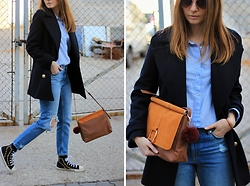 Tímea C - H&M Bag, Zara Coat, H&M Jeans - Blue & Studded