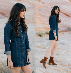 Tonya S. - Forever 21 Denim Dress, Free People Cecile Ankle Boot - Desert Dweller