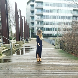 Christie Lohr - Minimum Long Blue Button Down Cardigan, Forever 21 Tan Booties - Lazy Days