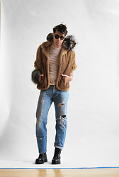 Matthew Reinhold - Just Cavalli Boots, Levis Jeans, Vinatge Fus, H.E. Mango T Shirt, Fur Source Collar, Fur Source Fox Slap Braclet, Persol Sunglasses - Furries Part II