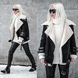 Oksana Orehhova - Zaful Coat, Zaful Sweater, Zaful Boots, Zaful Ring - MONOCHROME PRIME