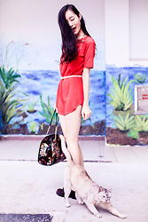 Ren Rong - Dealsale Red Tunic Dress, Topshop Gold Body Chain (Worn As Necklace), Dressin Floral Bowling Bag, Jeffrey Campbell Oxblood Cutout Boots - New Year Crimson Red