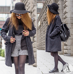 Diana Manolova - Zara Top, Zara Shorts, Only Coat, Zara Leather Backpack, Zara Loafers, Pimkie Sunglasses - Greyscale