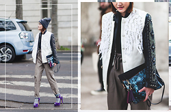 Miu PHAM - H&M Sequins Hat, Xuan Paris Handmade Jacket, Zara Faux Leather Pants, Office Shoes Platform Sandals - Menswear PFW day3
