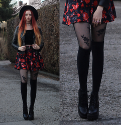 Liza LaBoheme - Faux Leather Jacket, Similar Here:, Urban Outfitters Velvet Crop Top (Old), Diy Rose Print Skirt, Platform Boots, Similar Here:, Vintage Belt - Love will tear us apart