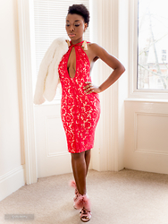 Priscillia Okpan - Missguided Red Lace Midi Dress, Missguided Pom Pom Lace Up Sandals, Boohoo Cream Tassel Earrings - Dinner for Two
