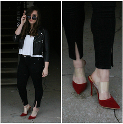 Kaylee Jo - Shoe Republic L.A Fiery And Clear Red And Lucite Pointed Toe Mules, Bdg Jett Mid Rise Skinny Jeans - Be My Valentine