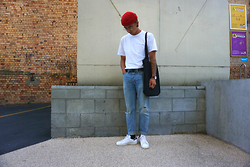 Dan Pantoja - American Apparel Red Cuffed Beanie, As Colour White Pocket Tee, Neuw Tapered Jeans, Adidas Classic Stan Smiths - HAPPY VALENTINES! Δ