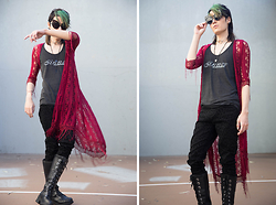 Kyris Kat - Guess Cross Beaded Necklace, Forever 21 Black Leopard Pants, Nana Pole Climber Boots, Ear Sunglasses, Rue 21 Red Lace Duster, Unpardonable Sin Sinner Tanktop - Red Lace