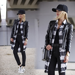 Daria Darenia - Romwe Long Shirt, Adidas Superstar, Cheap Monday Pants - Layers