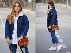 Claudia Villanueva - Sammydress Jacket, Stradivarius Scarf, Zara T Shirt, Sammydress Bag, Stylenanda Jeans, Superga Sneakers - Double Denim