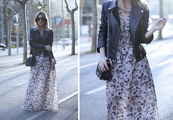 Mónica Sors - H&M Dress, Blanco Biker Jacket - BIKER JACKET + MAXI DRESS