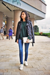 Jenn Su - Nastygal Studs Leather Jacket, Chanel Bag, Ete Shoes - Forest Green