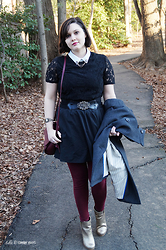 Gina S. - Forever 21 Lace Dress, Ebay Belt, Express Skirt, Nordstrom Gold Boots, Old Navy Leggings, Francesca's Crossbody Bag - Victorian accents.
