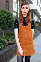 Chelsea Jade - Pull And Bear Pinafore, Fred Perry Jumper - Corduroy Pinafore