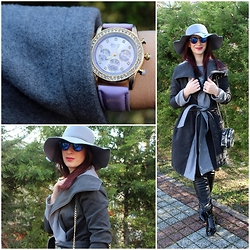 Rebel Takipte - Trendsgal Grey Coat, Znu Hat, Lovelywholesale Boots, Pree Brulee Purple Watch - Shades of Grey