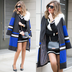 Helena Cueva - Sheinside Klein Coat, Blendshe Black Dress - Duster Coat