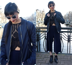 Rachel Oliver - Topshop Bomber, Zara Culottes - In The Navy