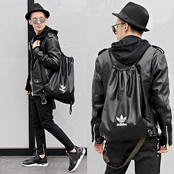 StreetFashion101 - Zara Leather Jacket, Bershka Pants, Adidas Tubular, Adidas Backpack, H&M Hat - Leather X Tubular