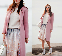 Viktoriya Sener - Romwe Pink Coat, Zara Sweater, Chic Wish Skirt, Rebecca Minkoff Bag, Asos Booties, Zerouv Sun Glasses - PINK LONG COAT