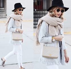 Lauren - Aska Slides, Madewell Sweater, Chanel Bag - Neutral transition to Spring