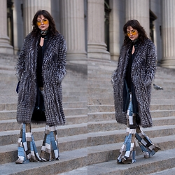 Lexicon of Style Alexandra Dieck - Fur Coat, Velvet Denim, Lexicon Of Style Rider Scarf, Yellow Aviators - NYFW Day 1 OOTD