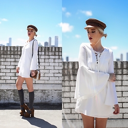 Holly Waanderland - Brixton Hat, Meek To Chic Tunic Dress, The Lair Bag, Windsor Smith Shoes - Skyline